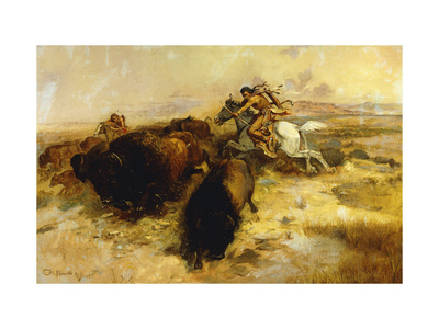 Buffalo Hunt Premium Giclee Print by Charles Marion		 Russell