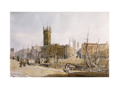Draw Bridge from St. Augustine's Bank, Bristol Premium Giclee Print by James		 Johnson