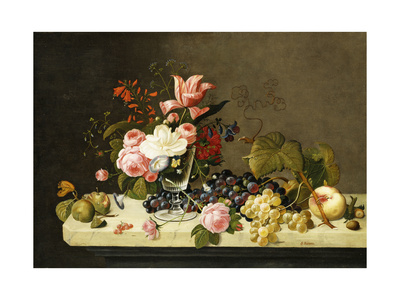 Flowers and Fruit Premium Giclee Print by Severin Roesen