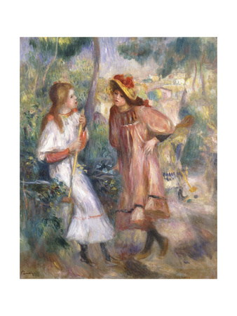 Two Girls in the Garden at Montmartre Premium Giclee Print by Pierre-Auguste Renoir