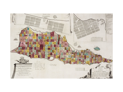 An engraved map of St Croix (Santa Cruz), 1754 Giclee Print