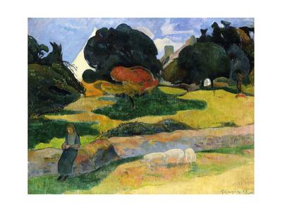 The Pig Field Lámina giclée por Paul Gauguin