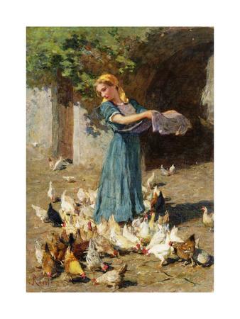 Feeding the Chickens Lámina giclée por Luigi Rossi