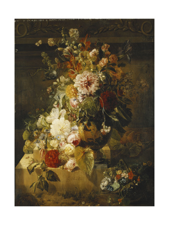 Roses, Convolvuli, Carnations, Hollyhocks, Peonies, Lilac and Other Flowers in a Vase Premium Giclee Print by Georgius Jacobus Os