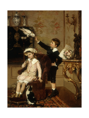 Grandmother's Pets Premium Giclee Print by Albert Roosenboom