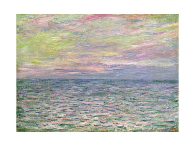 On the High Seas, Sunset at Pourville Premium Giclee Print by Claude Monet
