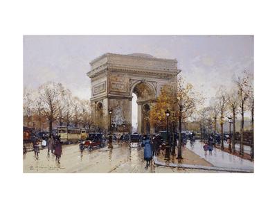 L'Arc de Triomphe, Paris Premium Giclee Print by Eugene Galien-Laloue