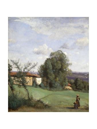 A Farm in Dardagny Lámina giclée por Jean-Baptiste-Camille Corot