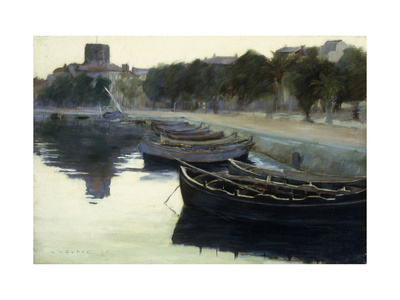 Boats at their Moorings Premium Giclee Print by Victor Dupre