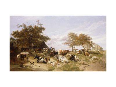 A Dairy Farm on the Marshes, East Kent Lámina giclée por Thomas Sidney Cooper