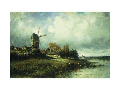 A River Landscape with a Windmill Premium Giclee Print by Victor Dupre