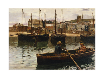 The Harbour, St.Ives, Cornwall Premium Giclee Print by William Henry Bartlett