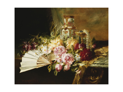 A Fan with Roses, Daisies and a Famille Rose Vase on a Draped Table Premium Giclee Print by Pierre Garnier