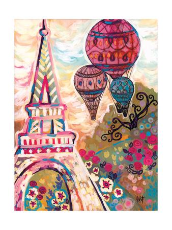 Ballons Sur Paris Giclee Print by Natasha Wescoat