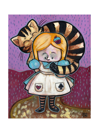 Alice and The Cheshire Cat Giclee Print by Natasha Wescoat