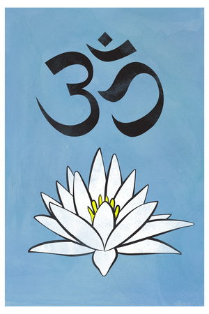 Lotus Meditation AUM Blue Plastic Sign Plastic Sign