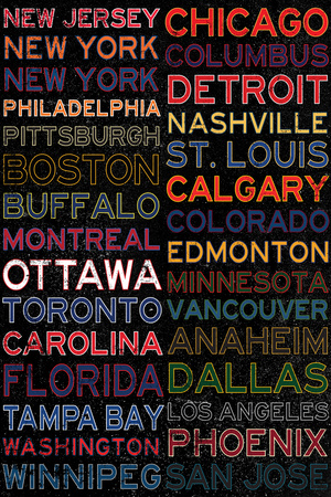 National Hockey League Cities Colorful Plastic Sign Plastic Sign