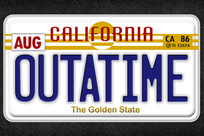 OUTATIME License Plate Movie Plastic Sign Plastic Sign