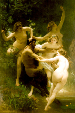 William-Adolphe Bouguereau Nymphs and Satyr Plastic Sign Plastic Sign