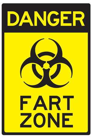 Danger Fart Zone Humor Plastic Sign Plastic Sign