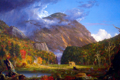 Thomas Cole A View of the Mountain Pass Called the Notch of the White Mountans Plastic Sign Plastic Sign by Thomas Cole