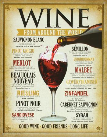 Wine Around the World Tin Sign Tin Sign