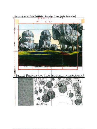 Wrapped Trees Nr.IV (Riehen) Serigrafi (silketryk) af  Christo