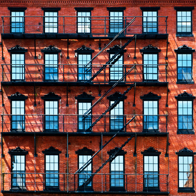 Building Facade in Red Brick, Stairway on Philadelphia Building, Pennsylvania, US, Square Photographic Print by Philippe Hugonnard