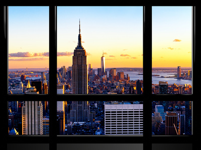 Window View, Empire State Building and One World Trade Center (1WTC) at Sunset, Manhattan, New York Photographic Print by Philippe Hugonnard