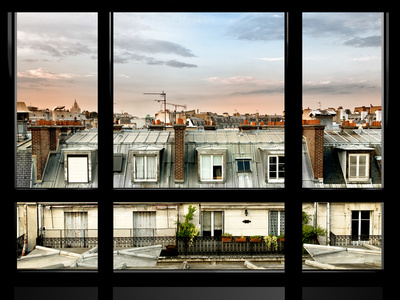 Window View, Special Series, Rooftops, Sacre-Cœur Basilica, Paris, France Fotoprint av Philippe Hugonnard