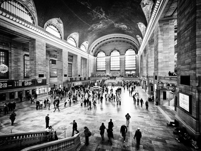Lifestyle Instant, Grand Central Terminal, Black and White Photography Vintage, Manhattan, NYC, US Fotografie-Druck von Philippe Hugonnard