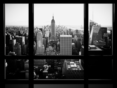 Window View, Skyscrapers and Empire State Building Views, Midtown Manhattan, Hudson River, New York Photographic Print by Philippe Hugonnard