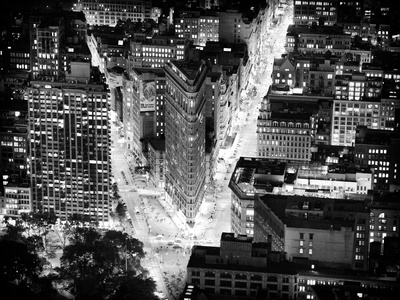 Lifestyle Instant, Flatiron Building by Nigth, Black and White Photography, Manhattan, NYC, US Photographic Print by Philippe Hugonnard
