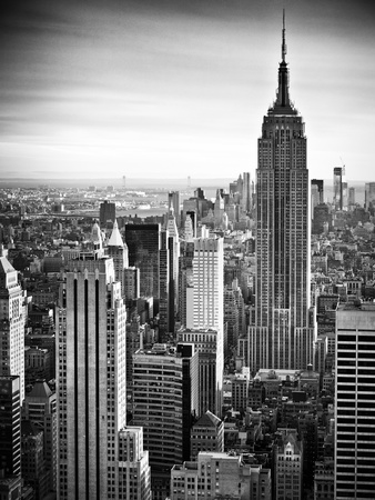 Empire State Building in Manhattan New York City skyline black and white photo poster by Philippe Hugonnard