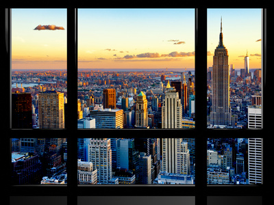 Window View, Empire State Building and One World Trade Center (1WTC) at Sunset, Manhattan, New York Fotografisk tryk af Philippe Hugonnard