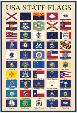 USA 50 State Flags Chart Posters