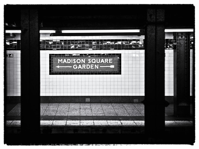 Subway Sign, Black and White Photography, Madison Square Garden, Manhattan, New York, United States Photographic Print by Philippe Hugonnard