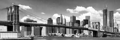 Panoramic, Skyline of NYC, Manhattan and Brooklyn Bridge, One World Trade Center, US Photographic Print by Philippe Hugonnard