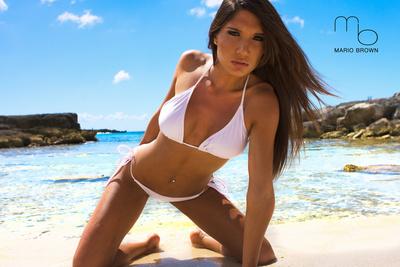 April Gutierrez White Bikini Sexy Plastic Sign by Mario Brown Plastic Sign by Mario Brown