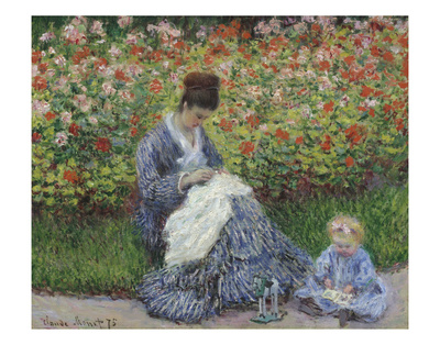 Camille Monet and a Child in the Artist's Garden in Argenteuil, 1875 Prints by Claude Monet