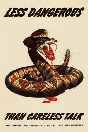Less Dangerous Than Careless Talk Snake WWII War Propaganda Prints