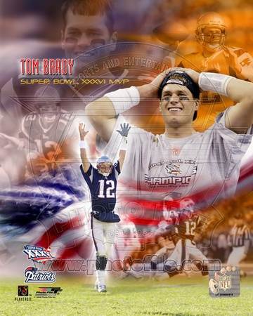 Photo Collage of Tom Brady New England Patriots moments at Super Bowl XXXVI