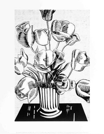 Black Flowers Collectable Print by Roy Lichtenstein