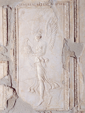 Winged Victory Holding a Crested Helmet, 25, 1st Century, Stucco Photographic Print by Unknown Artist