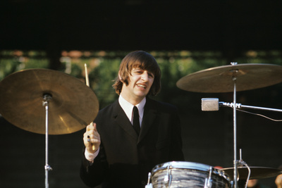 Ringo Starr Playing Drums Photographic Print