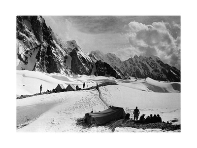 The Tents of the Hunza and of the Italian Alpinists of the Ascent of K2 at Concordia Camp Photographic Print