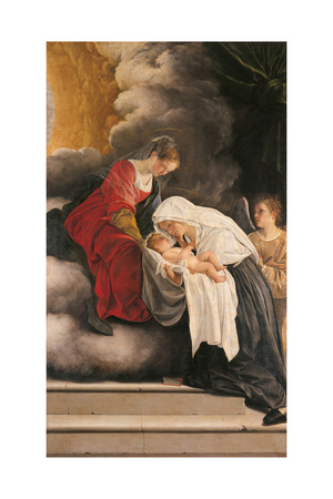 Madonna with Child with St Frances of Rome and Anm Angel Giclée-tryk af Orazio Gentileschi