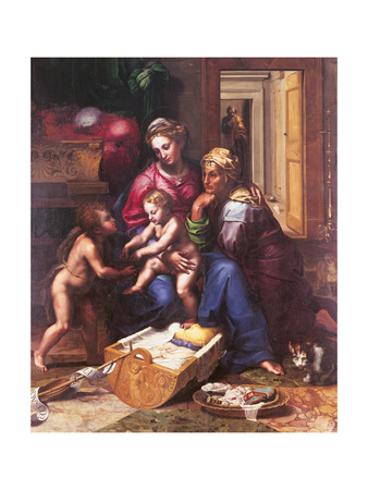 Madonna of the Cat Giclee Print by Giulio Romano