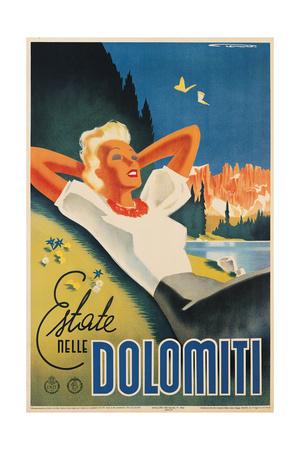 Travel Poster for the Italian Dolomites Poster by Franz Lenhart