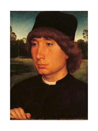 Young Man before a Landscape Prints by Hans Memling